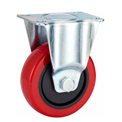 Medium Duty Red PU Caster Rigid